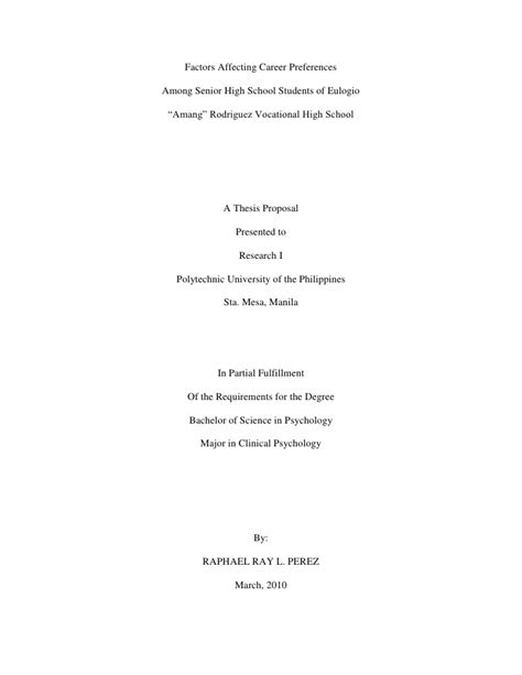 thesis titles exles high school research sle exle of
