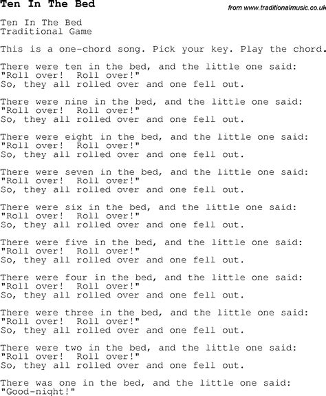 Ten In The Bed Lyrics by Childrens Songs And Nursery Rhymes Lyrics With Easy