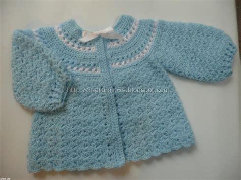 chambritas tejidas a dso agujas con canesu redondo paso a paso marumin crochet celeste y blanco para beb 233 light blue