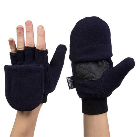 Mitten 2in1 1 3m thinsulate fleece pop top convertible fingerless gloves mittens ebay