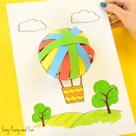 Children S Paper Crafts - air balloon paper craft easy peasy and