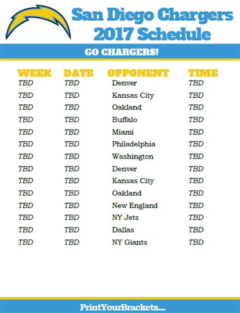 2013 san diego chargers schedule nfl schedule printable autos post