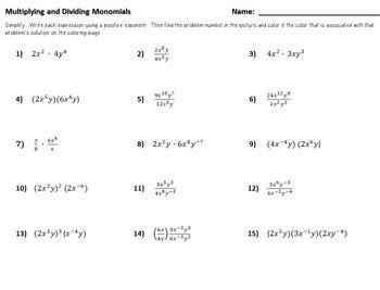 Monomials Worksheet
