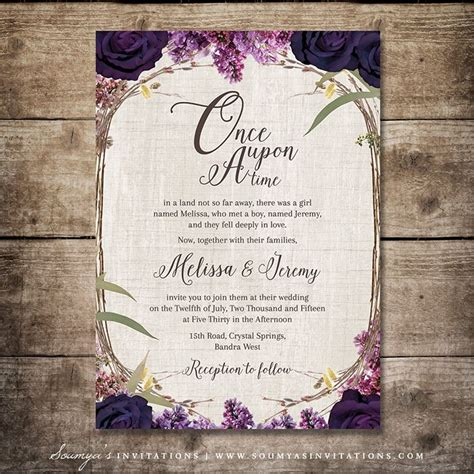 wedding invitation garden theme enchanted forest wedding invitation purple wedding