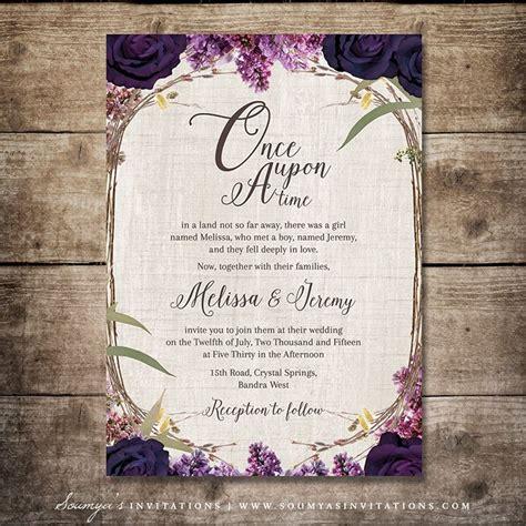 Wedding Invitation Garden Theme by Enchanted Forest Wedding Invitation Purple Wedding