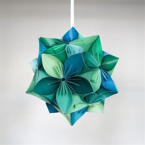 Large Origami Flowers - large kusudama blue green origami flower by