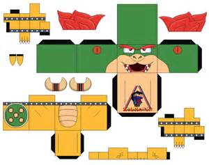 bowser mario bros 2 cubeecraft papercraft by