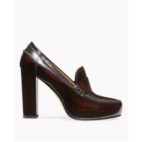 brown heeled loafers lyst theory agate heel loafer in sinton in brown