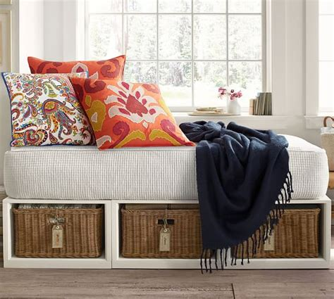 stratton daybed stratton storage platform daybed with baskets pottery barn