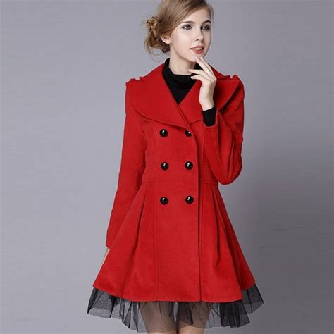 Red Womens Pea Coat - Coat Nj Leather Jackets For Women Light Brown