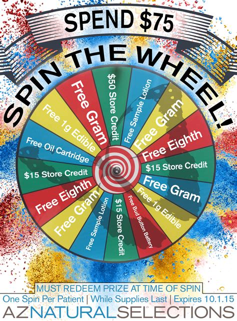 Spin To Win Sweepstakes - spend 75 spin to win prizes like 50 off or a free eighth