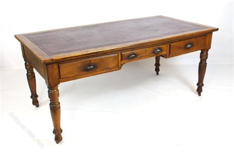 large writing desk large oak library table writing desk antiques
