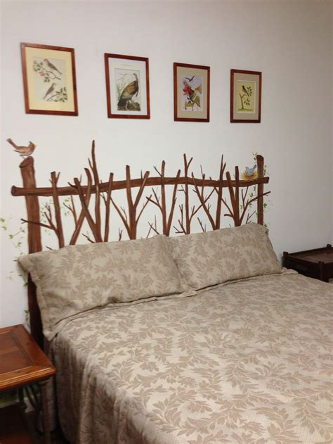 wall headboard ideas twig headboard painted on the wall house decor ideas