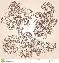 henna doodles mehndi tattoo vector design elements royalty