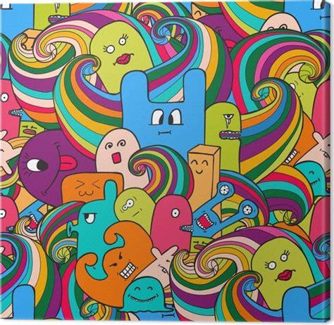 cuadro graffiti cuadro en lienzo graffitis monstruos divertidos dibujado