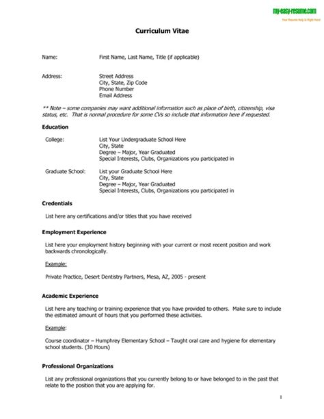 Vita Resume Exle by Curriculum Vitae Template Free Cv