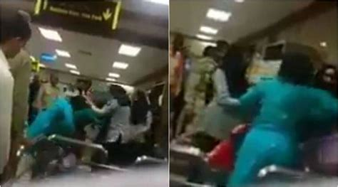 video  officials beating  women    toilet paper  islamabad airport
