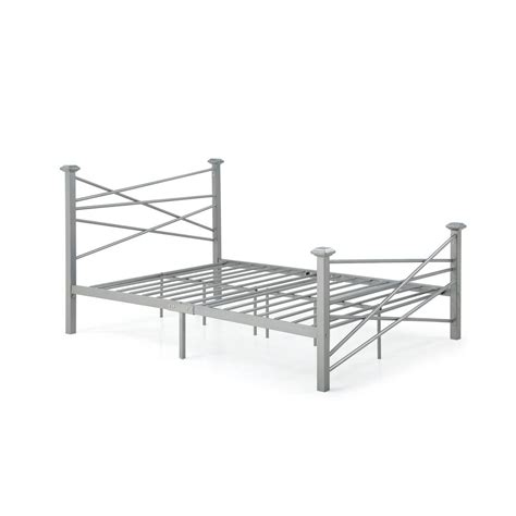 Metal Bed Rails For Headboard And Footboard by Hodedah Complete Metal Silver Bed With Headboard