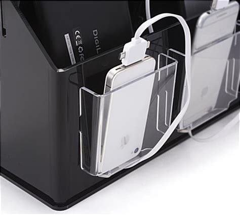 multi device charging station organizer black clear