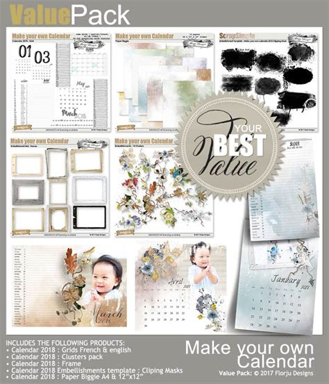 make my own calendar 2018 make your own calendar 2018 embellishment clusters pack