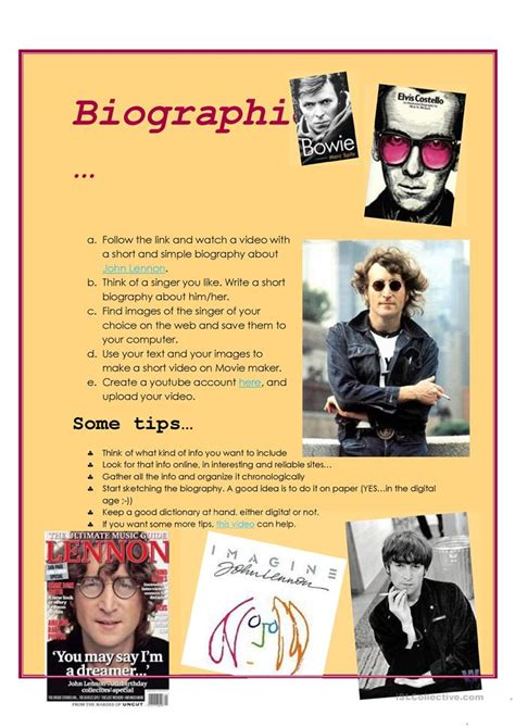 john lennon biography worksheet 15 free esl john lennon worksheets