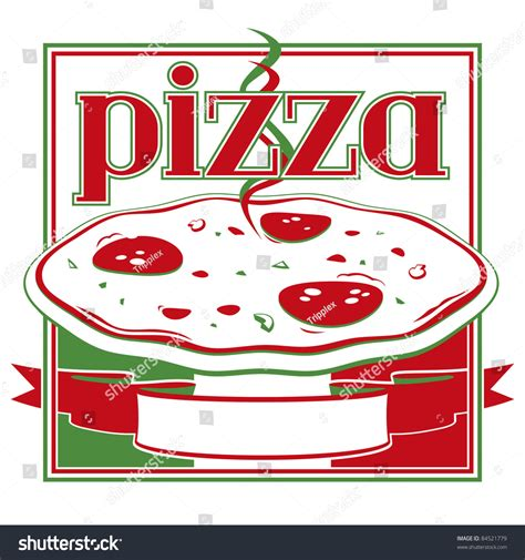 italian red green pizza box cover stock vector 84521779