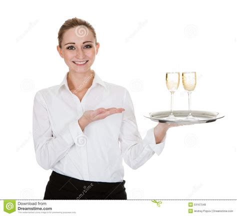 waitress carrying a tray with wine glasses stock photo image 53167048