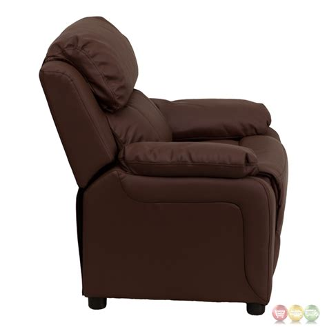 recliner with arm storage deluxe heavily padded contemporary brown leather kids