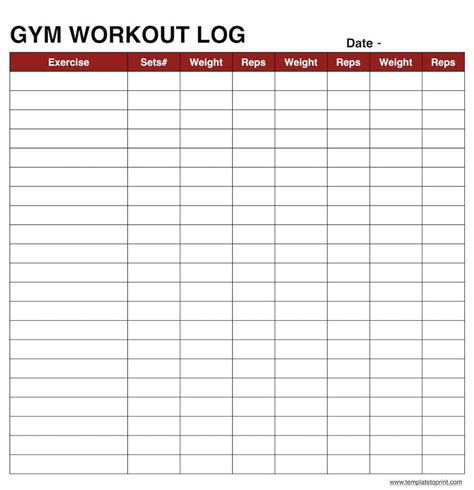Workout Log Template Madinbelgrade Fitness Tracker Template