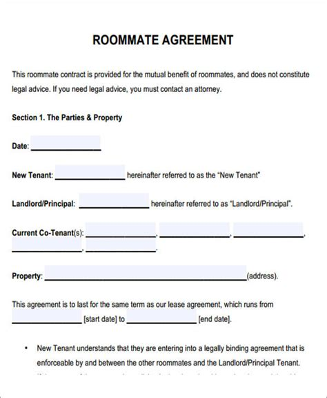 roommate rental agreement template 6 sle roommate rental agreement form exles in