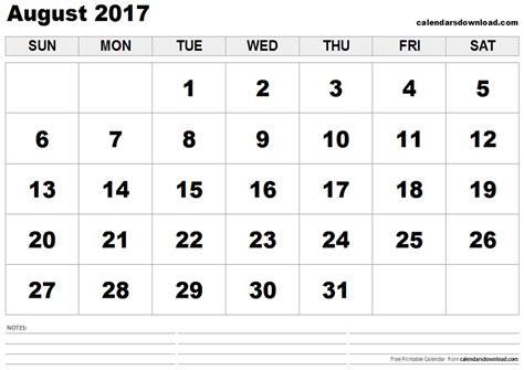 Calendar Of August 2017 August 2017 Calendar