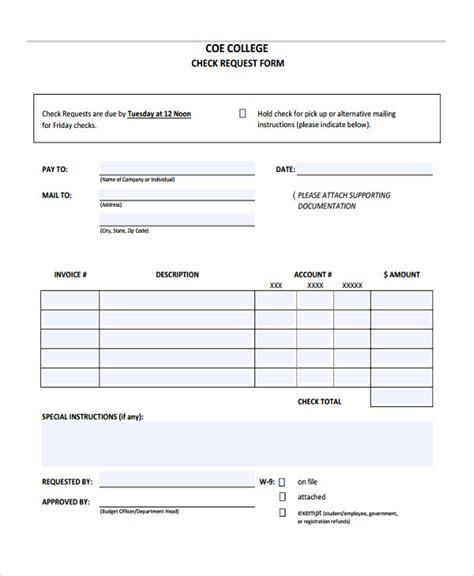 check request form templates