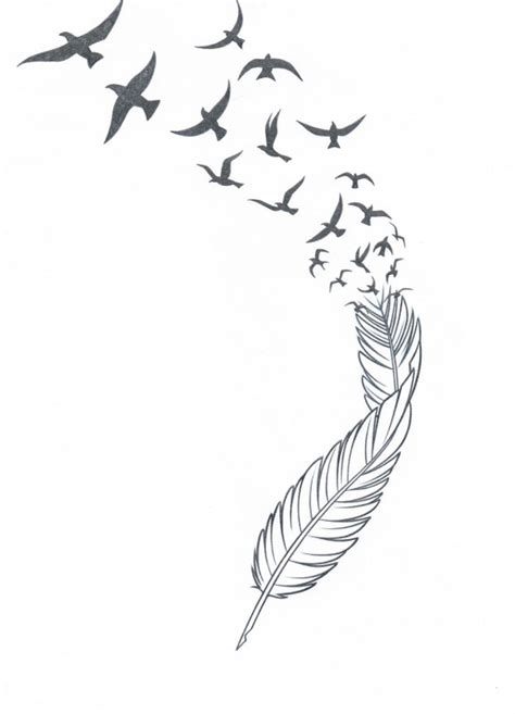 feather with birds flying out tattoo feather n birds stencil tattoos book 65 000
