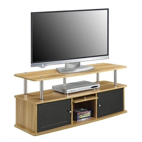 rooms to go tv stand 47 quot tv stand with 3 cabinets in light oak 151202lo