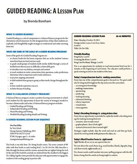 madeline lesson plan template pdf sle guided reading lesson plan template 9 free