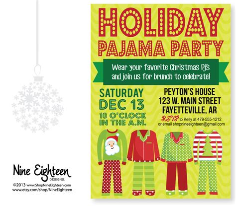 christmas pajama party invitation custom by nineeighteen