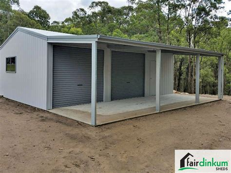 Lean To Garage by Garage With Lean To And Garaport Fair Dinkum Sheds