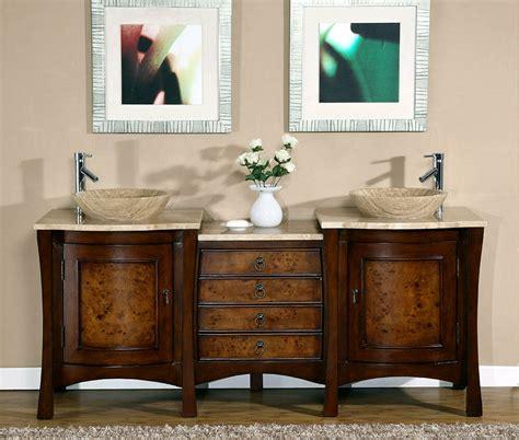 Modern Sink Bathroom Vanity by 72 Quot Modern Bathroom Travertine Top Vessel