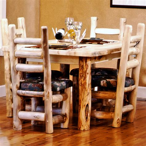 log dining room sets aspen mountain 4 post dining table mountain woods furniture