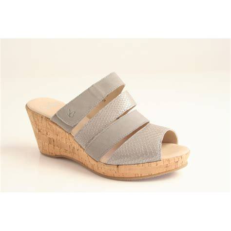 grey sandal wedges caprice caprice grey leather sandal with cork wrapped