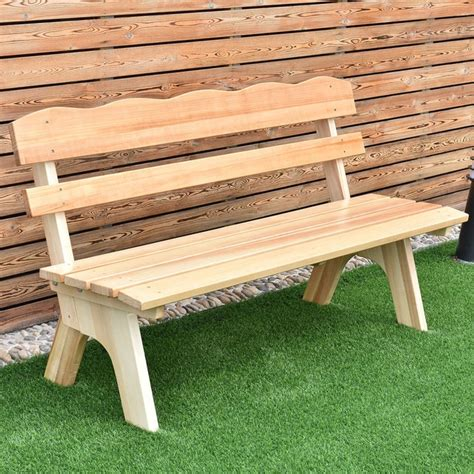 giantex  ft  seats outdoor wooden garden bench chair