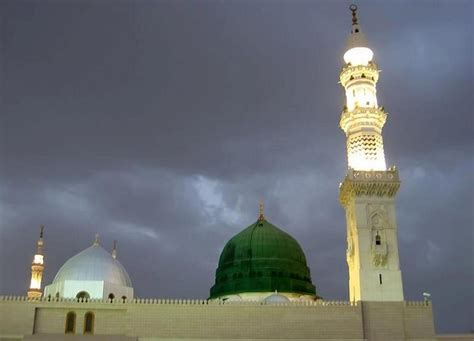 wallpaper green mosque the green dome cloudy sky at prophet s mosque madinah