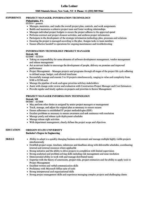information technology project manager resume