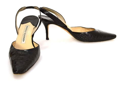 Designer Shoes News Thoughts By Manolo Blahnik Second City Style Fashion Second City Style by Manolo Blahnik Black Crocodile Slingback Pumps Sz 35 5 At