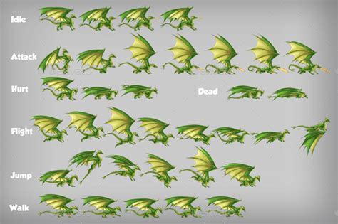 game dragon character spritesheet  craftpixnet