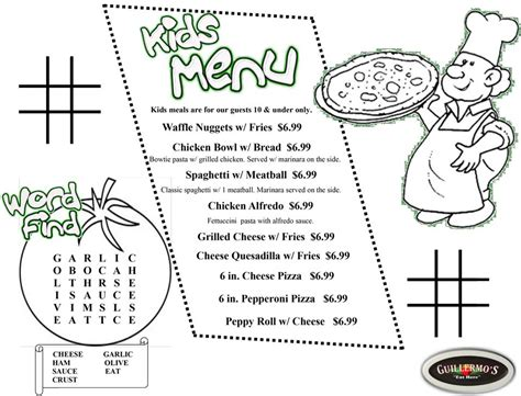 guillermo s kids menu