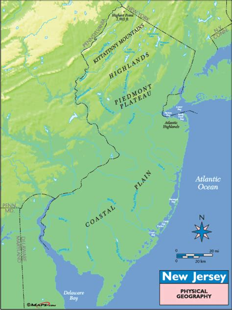 physical map of new jersey new jersey physical geography map by maps from maps