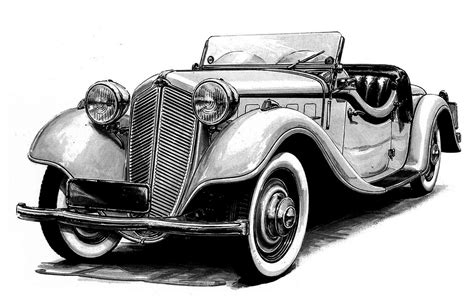 6 Best Images Of Old Car Sketches Classic Car Drawings