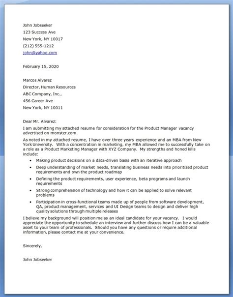 Mba Program Cover Letter Sle by Mba Cover Letter Resume Downloads