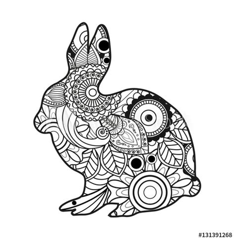 vector illustration   black  white rabbit mandala
